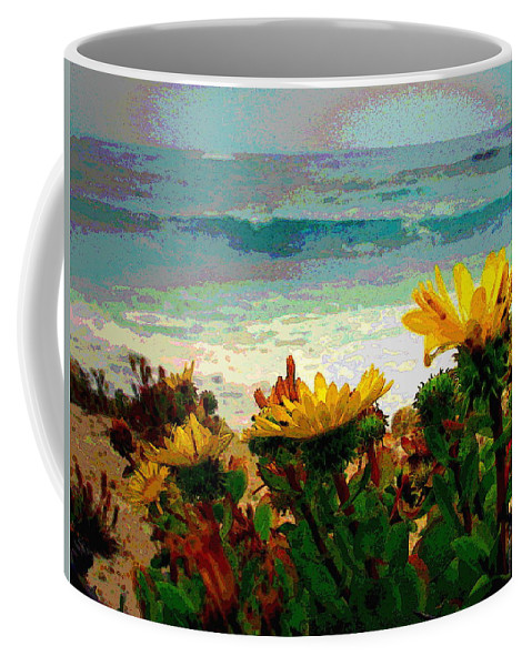 Watercolor Coffee Mug featuring the photograph A Flowery View Of The Surf Watercolor by Joyce Dickens
