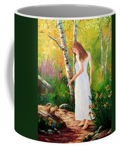 Landscape Coffee Mug featuring the painting A Friendly Greeting by David G Paul