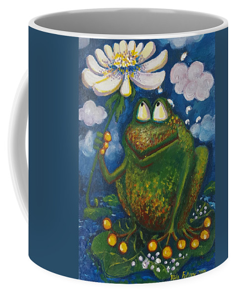 Frog Coffee Mug featuring the painting Frog In The Rain by Rita Fetisov