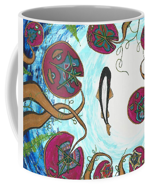 Water Coffee Mug featuring the painting A Frog's Sky View by Paul Fields