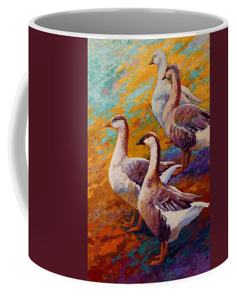 Geese Coffee Mug featuring the painting A Gaggle Of Four by Marion Rose