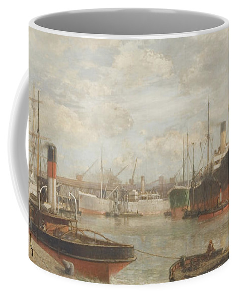 Harbor Coffee Mug featuring the painting A Glimpse In 1920 Of The Royal Edward Dock, Avonmouth by Arthur Wilde Parsons