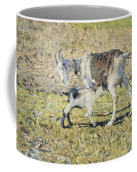 Giovanni Segantini Coffee Mug featuring the painting A Goat With Her Kid by Giovanni Segantini