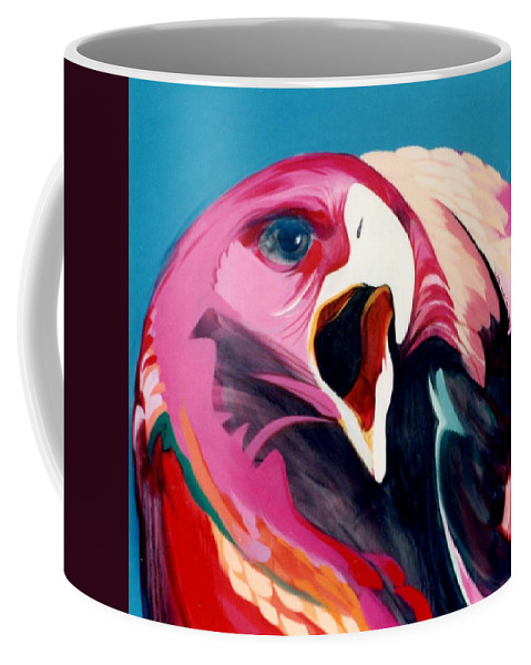 Raptor Coffee Mug featuring the painting A Golden Mantles by Marlene Burns