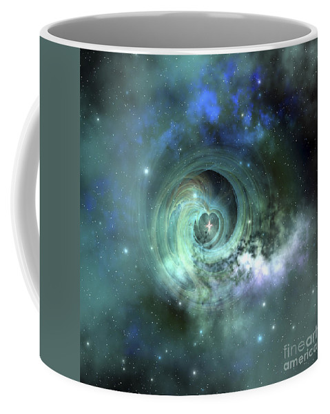 Space Art Coffee Mug featuring the digital art A Gorgeous Nebula In Outer Space by Corey Ford