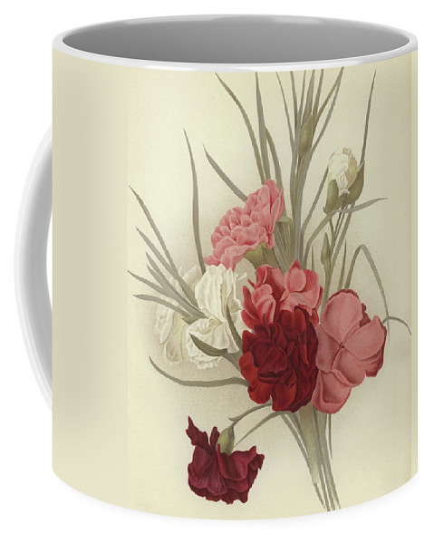 Carnation Coffee Mug featuring the painting A Group Of Clove Carnations by English School