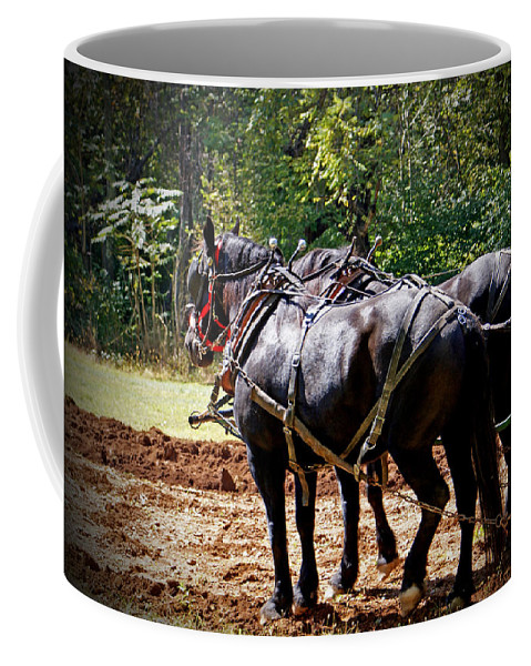 Horse Coffee Mug featuring the photograph A Hard Days Work by Jean Haynes