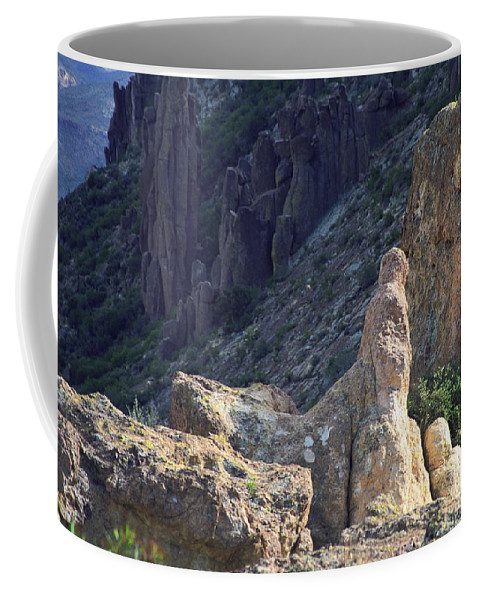Rock Formations Coffee Mug featuring the photograph A Hard Ride by Kathy McClure