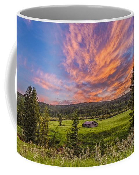 Cypress Hills Interprovincial Park Coffee Mug featuring the photograph A High Dynamic Range Photo Of A Sunset by Alan Dyer