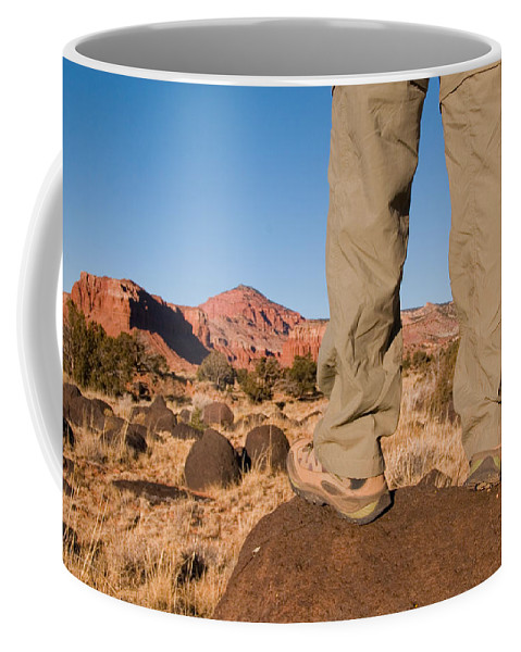 Utah Coffee Mug featuring the photograph A Hiker Admires The Sunrise Light by Taylor S. Kennedy