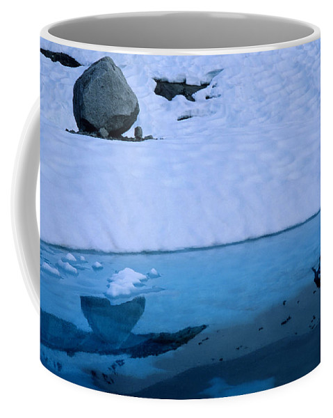 Prince William Sound Coffee Mug featuring the photograph A Hiker Explores A Lake Near The Nellie by Bill Hatcher