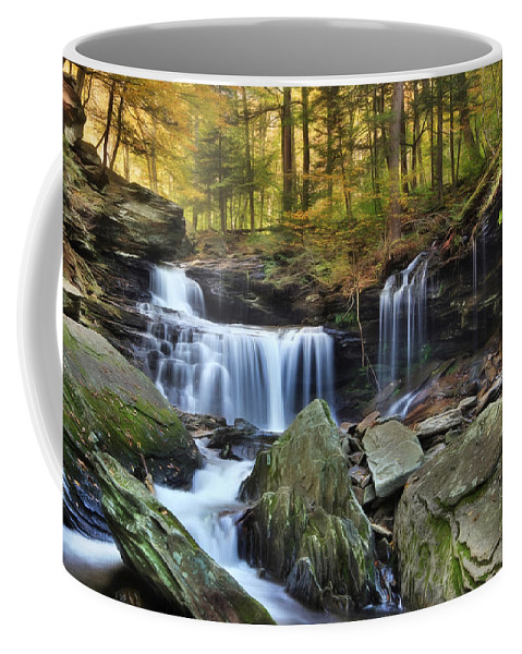 Ricketts Glen State Park Coffee Mug featuring the photograph A Hint Of Autumn by Lori Deiter