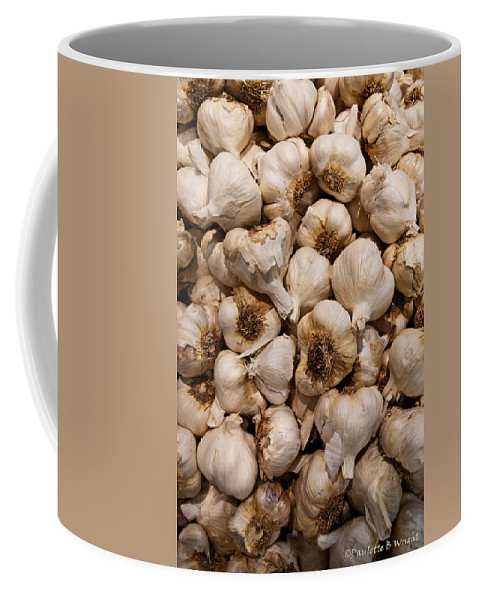 Garlic Coffee Mug featuring the photograph A Hotbed Of Bad Breath by Paulette B Wright