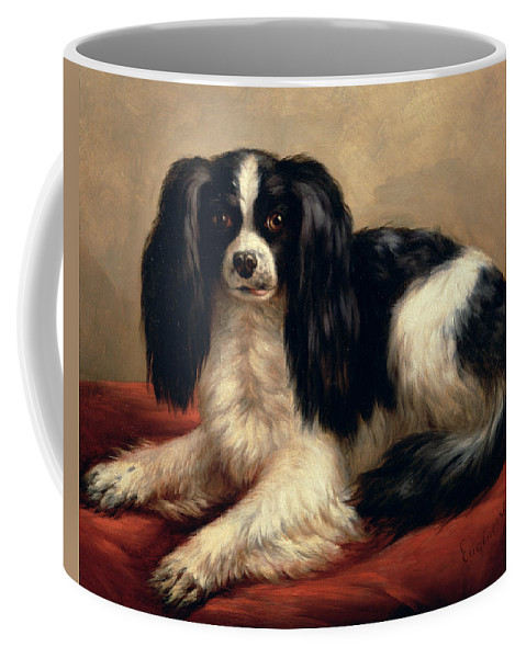 A King Charles Spaniel Seated On A Red Cushion Coffee Mug featuring the painting A King Charles Spaniel Seated On A Red Cushion by Eugene Joseph Verboeckhoven