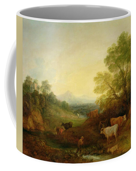 Landscape Coffee Mug featuring the painting A Landscape With Cattle And Figures By A Stream And A Distant Bridge by Thomas Gainsborough