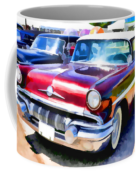 Show Coffee Mug featuring the painting A Line Of Classic Antique Cars 9 by Jeelan Clark