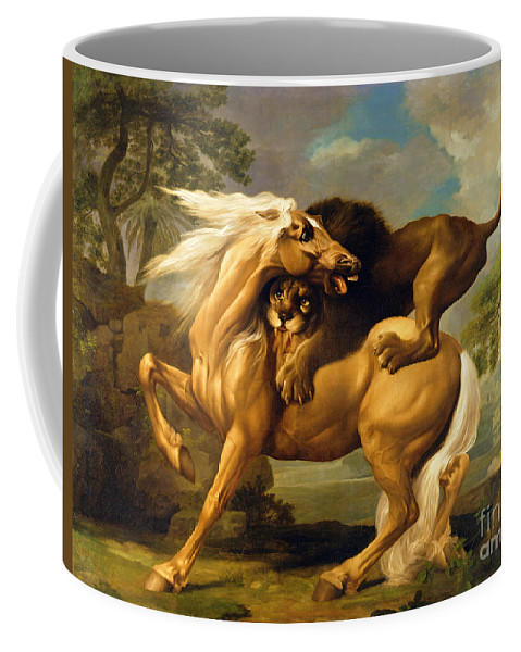 Lion Coffee Mug featuring the painting A Lion Attacking A Horse by George Stubbs