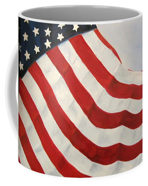 Flag Coffee Mug featuring the painting A Little Glory by Carol Sweetwood