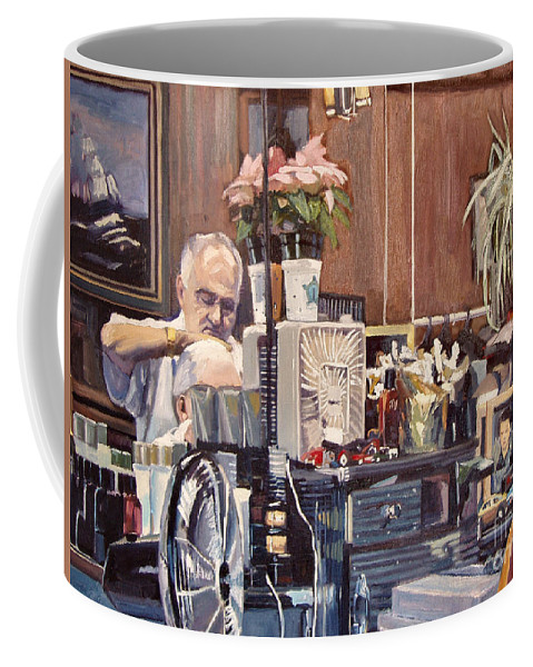 Barber Coffee Mug featuring the painting A Little Off The Top by Deb Putnam