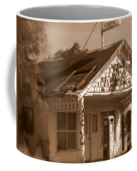 Old Building Coffee Mug featuring the photograph A Little Weathered Gas Station by Carol Groenen