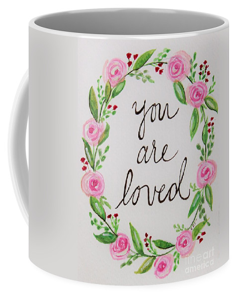 Loved Coffee Mug featuring the painting A Love Note by Elizabeth Robinette Tyndall