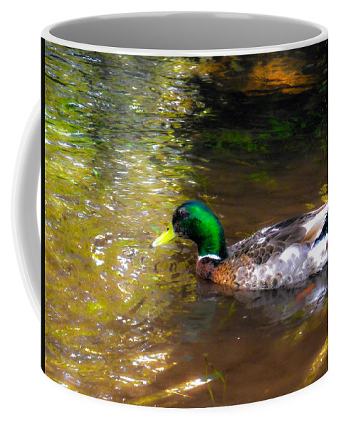 Beak Coffee Mug featuring the painting A Male Mallard Duck 3 by Jeelan Clark