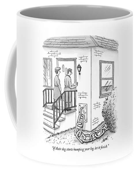 """""""if Their Dog Starts Humping Your Leg Coffee Mug featuring the drawing A Man And Woman Ring The Bell Of A House by Tom Cheney"""