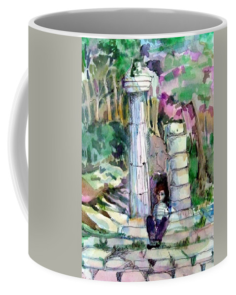 Watercolor Coffee Mug featuring the painting A Man In Ruins by Mindy Newman