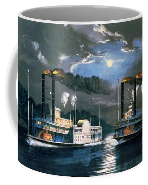 A Midnight Race On The Mississippi Coffee Mug featuring the painting A Midnight Race On The Mississippi by Currier and Ives