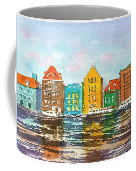 Watercolor Coffee Mug featuring the painting A Modern Take On Curacao by Debbie Lewis