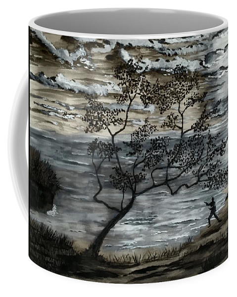 Asian Coffee Mug featuring the painting A Moment Of Harmony by Eric Wait