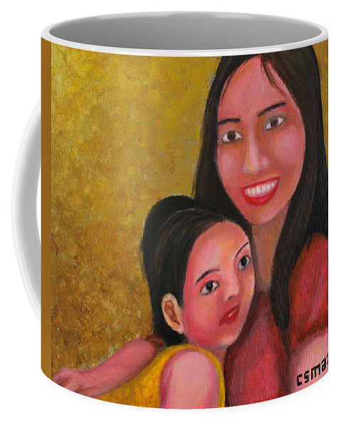 Mom Coffee Mug featuring the painting A Moment With Mom by Cyril Maza