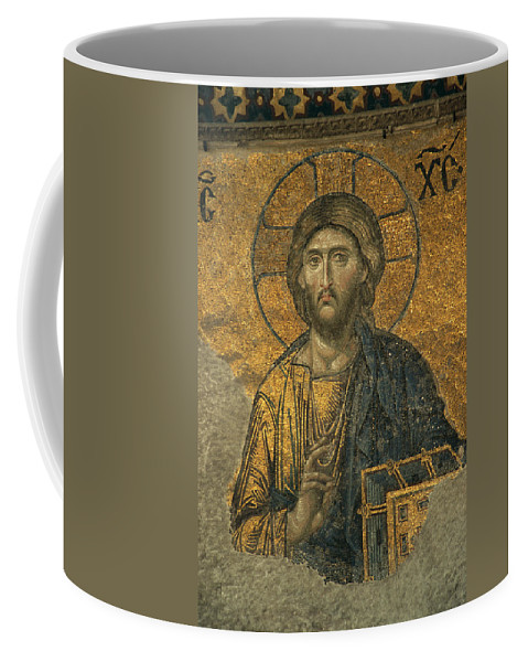 Turkey Coffee Mug featuring the photograph A Mosaic Of Jesus The Christ At St by Tim Laman
