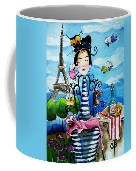 Stressie Cat And Friends Parisian Scene Paris French France Coffee Mug featuring the painting A Moveable Feast by Lucia Stewart