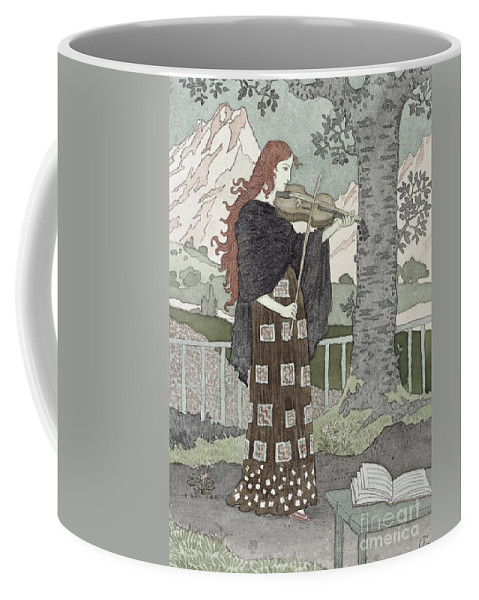 A Musician (w/c On Paper) By Eugene Grasset (1841-1917) Coffee Mug featuring the painting A Musician by Eugene Grasset