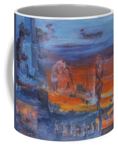 Abstract Coffee Mug featuring the painting A Mystery Of Gods by Steve Karol