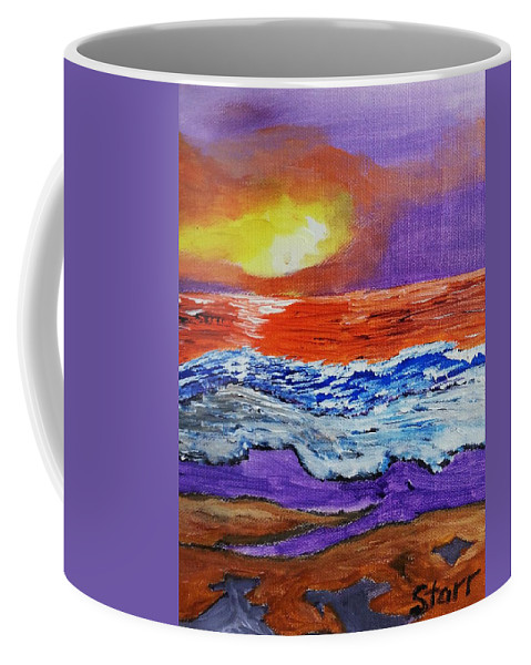 Abstract Uplifting Ocean Sky Waves Beach Sunrise Clouds; Coffee Mug featuring the painting A New Day by Irving Starr