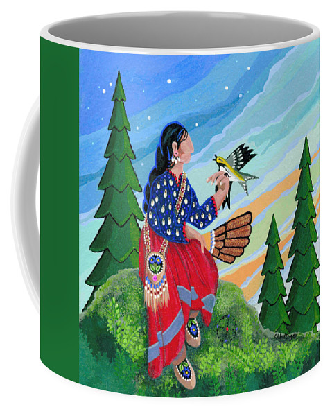 Native Americanart Work Coffee Mug featuring the painting A New Song Arrives by Chholing Taha