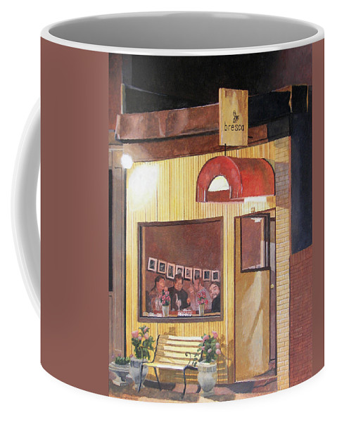 Restaurant Coffee Mug featuring the painting A Night At Bresca by Dominic White