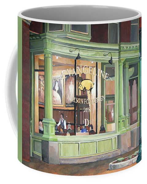 Restaurant Coffee Mug featuring the painting A Night At Evangeline by Dominic White