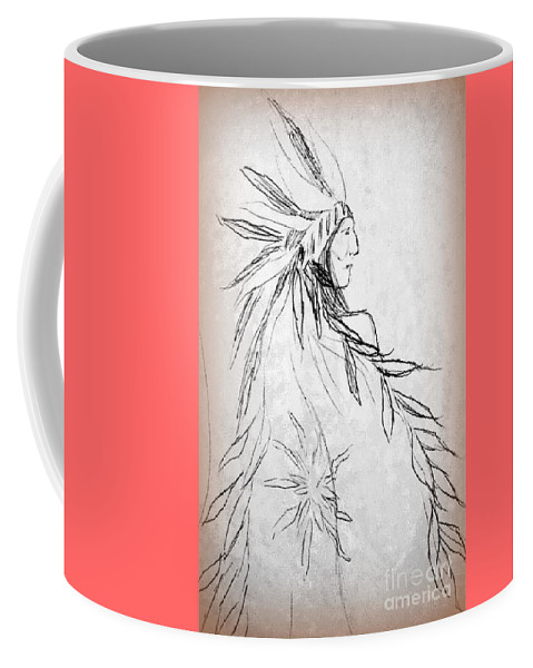 Native American Indians Coffee Mug featuring the drawing A Noble People by Georgia's Art Brush