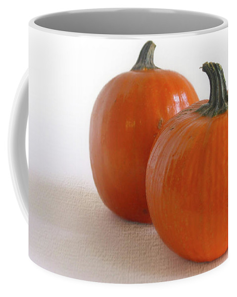 Autumn Coffee Mug featuring the photograph A Pair Of Pumpkins by David and Carol Kelly