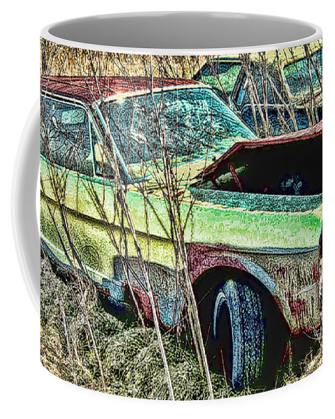 Ford Coffee Mug featuring the digital art A Parted Out Mustang by Tommy Anderson