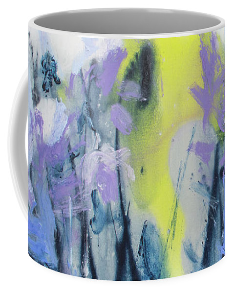Abstract Coffee Mug featuring the painting A Patch Of Purple by Claire Desjardins