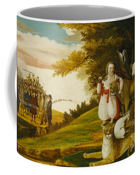 A Peaceable Kingdom With Quakers Bearing Banners (1829-30) Coffee Mug featuring the painting A Peaceable Kingdom With Quakers Bearing Banners by Celestial Images