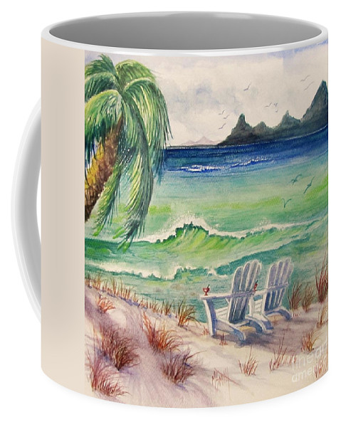 Beach Scene Coffee Mug featuring the painting A Place For Dreamin' by Marilyn Smith