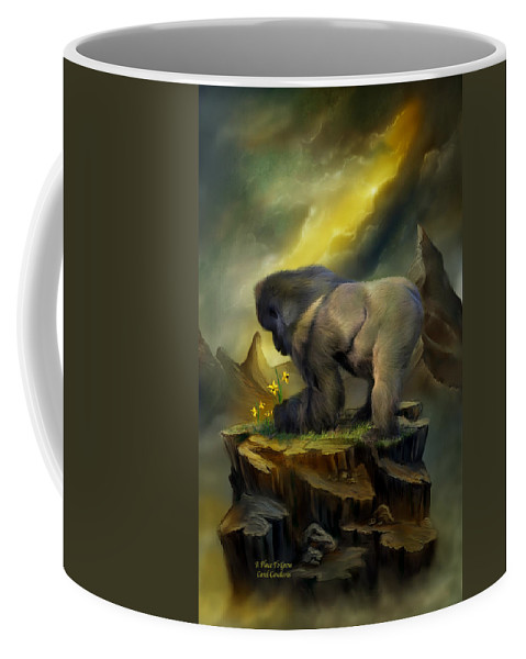Silverback Gorilla Coffee Mug featuring the mixed media A Place To Grow by Carol Cavalaris