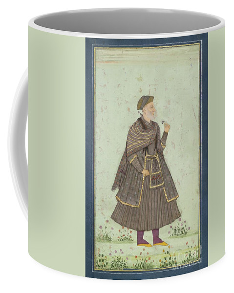 A Portrait Of A Deccani Nobleman Coffee Mug featuring the painting A Portrait Of A Deccani Nobleman by Celestial Images