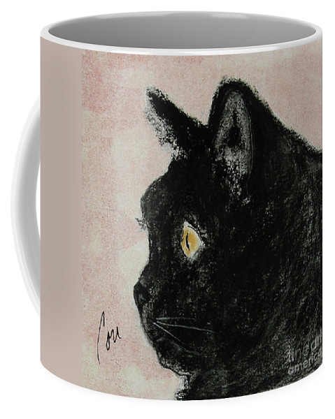 Pastels Coffee Mug featuring the mixed media A Purrfect Vision by Cori Solomon