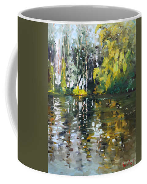 Landscape Coffee Mug featuring the painting A Quiet Afternoon Reflection by Ylli Haruni